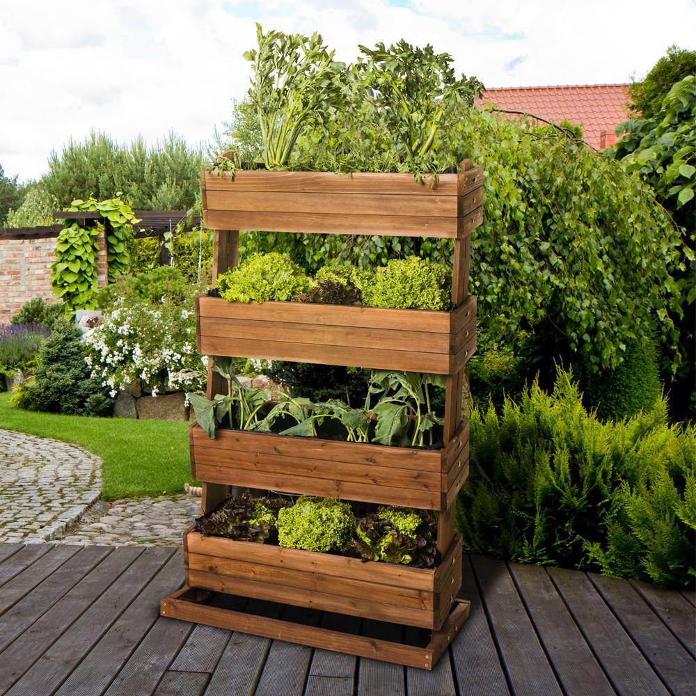 Hochbeet vertikal aus Echtholz mit 20 neigbaren Pflanzkästen