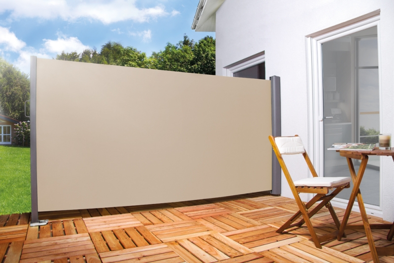 seitenmarkise f r balkon terrasse l 300cm h 180cm farbe creme beige. Black Bedroom Furniture Sets. Home Design Ideas